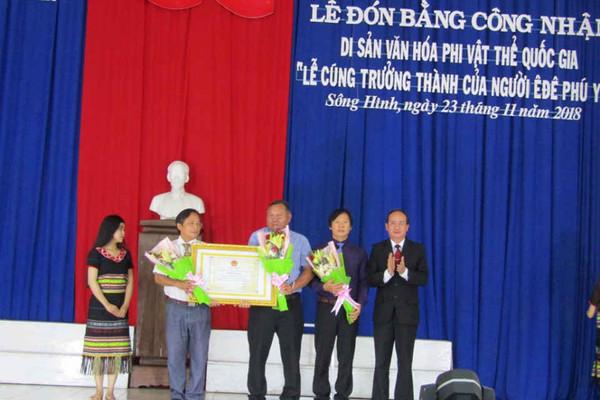 """Đón Bằng công nhận di sản văn hóa phi vật thể quốc gia """"Lễ cúng trưởng thành của người Ê Đê Phú Yên"""""""