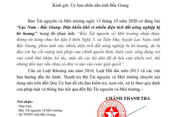 Bắc Giang: Sớm chỉ đạo kiểm tra, xử lý việc nhiều diện tích đất nông nghiệp tại xã Tiên Nha bị bỏ hoang