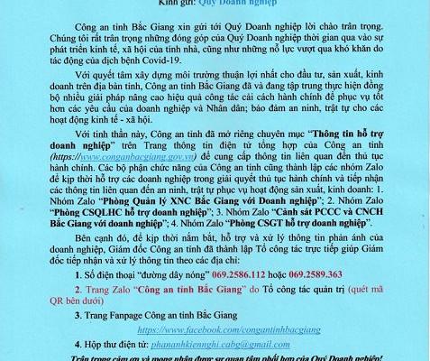 """Công an tỉnh Bắc Giang mở kênh """"Thông tin hỗ trợ doanh nghiệp"""""""