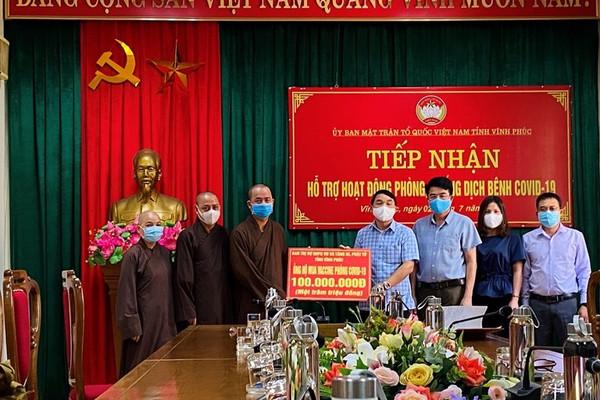 Vĩnh Phúc: Giáo hội Phật giáo tỉnh ủng hộ 100 triệu đồng mua vắc xin phòng, chống dịch Covid-19