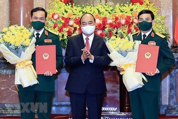 Trao quyết định thăng quân hàm Đại tướng, Thượng tướng cho lãnh đạo Bộ Quốc phòng